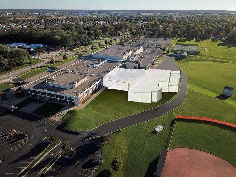 Mock up of renovation plans for West Campus after community approves referendum.