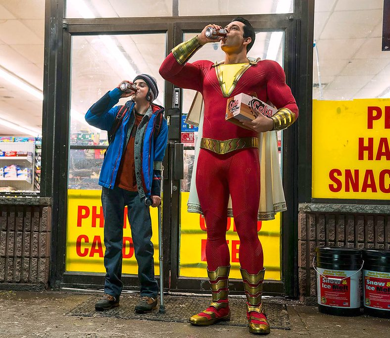 Freddy Freeman (Jack Dylan Grazer) and Shazam (Zachary LeviI) enjoy Shazam's new perks that come with being an adult.