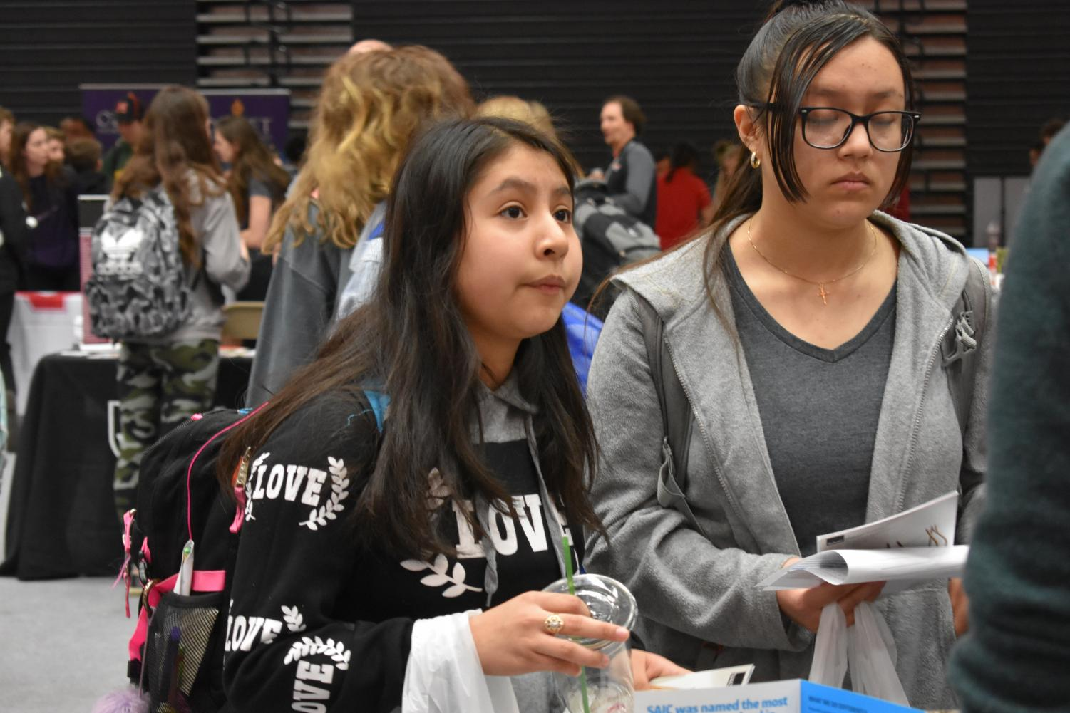 Freshman Naomi Castillo at the college and career expo courtesy of yearbook