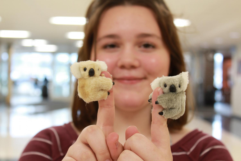 Niki Mayers, a sophomore at MCHS, sells small koalas to raise money for the Australia fires.