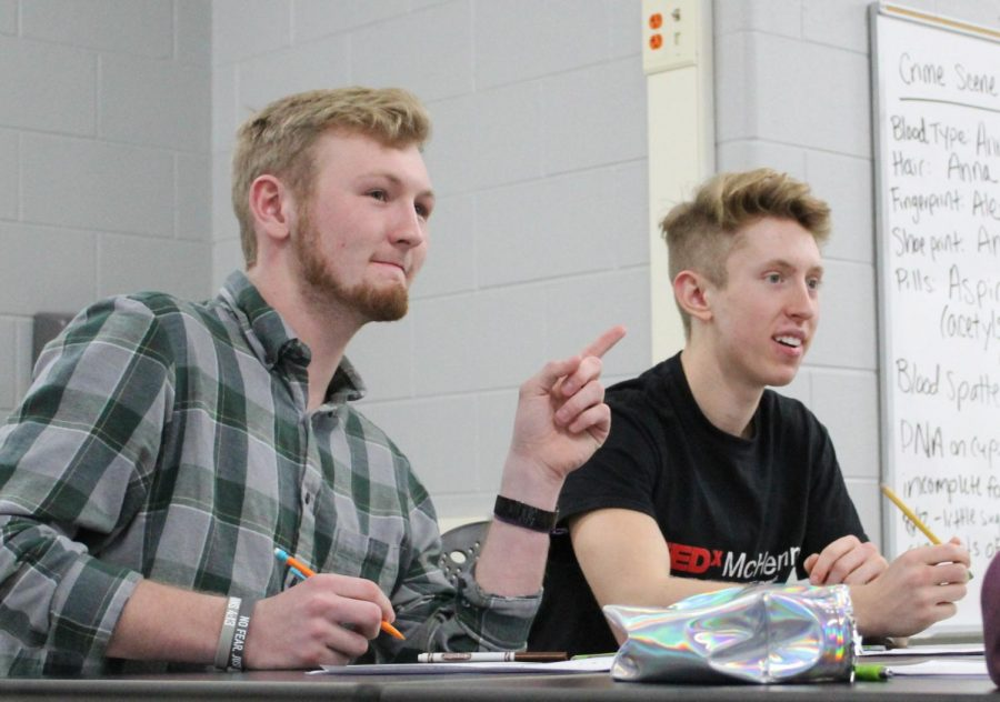 Austin Lichtenstein and Caleb Schopen contribute ideas to the first TED-ED meeting at East Campus on January 14. The new club will provide students opportunities to create and perform their own TED Talks.