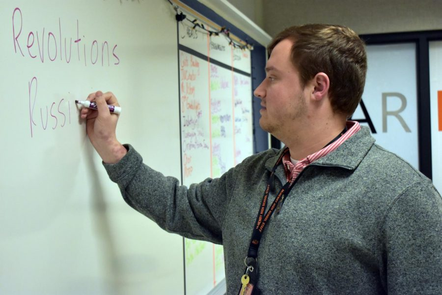 Describing the Russian Revolution to students, Mr. Eric Vollmert strives for students to look beyond the label of