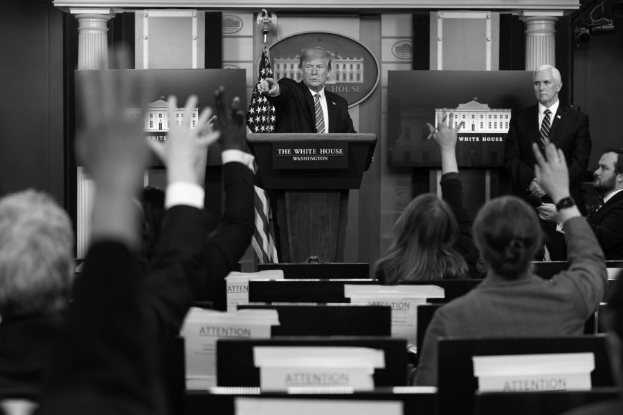 resident Donald J. Trump takes questions from the press during a coronavirus update briefing Sunday, April 19, 2020, in the James S. Brady Press Briefing Room of the White House.