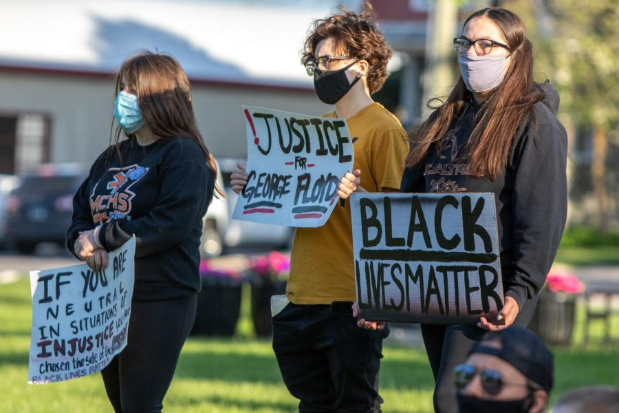 Donning masks, MCHS students protest the death of George Floyd at the hands of a white Minneapolis cop during a Black Lives Matter protest at Veterans Memorial Park in McHenry. Floyd's death has sparked several protests in McHenry County, all of them peaceful.
