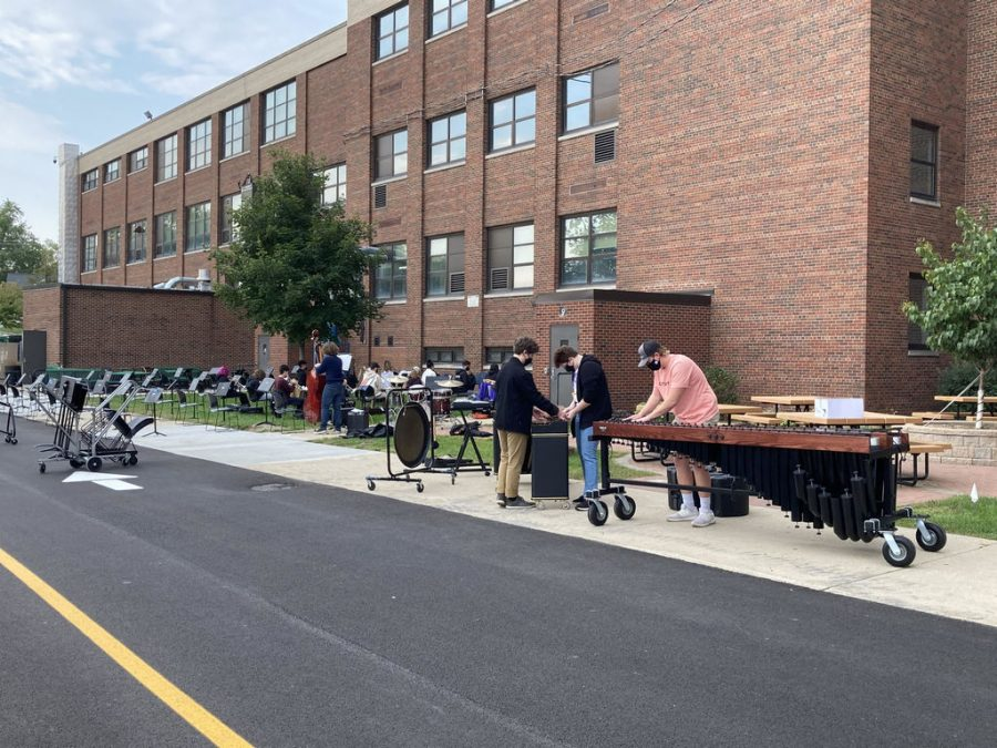 Starting September 21, select classes began meeting in person. This included MCHS's bands, which practiced outside of East Campus on September 22.