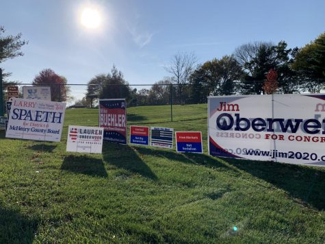 Signs for local Illinois elections advertise candidates for senate, county board, and other national causes. First time voters around the country cast their ballots in this historical election on November 3.