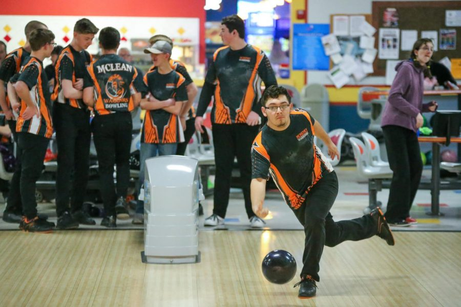 Alejandro Animas-Szczepanik tosses the ball down the lane during a boys bowling practice on January 14, 2020 at Raymond's Bowl in Johnsburg. Both the boys and girls team will play their first games of the season this week.