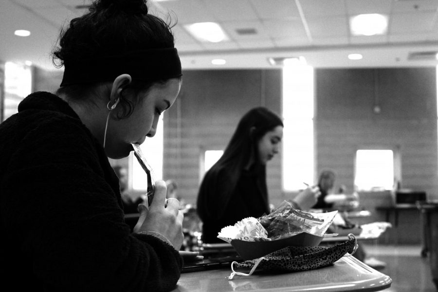 Remaining socially distant during lunch and eating on small classroom desks is just another change that in-person learners got used to during hybrid learning in the winter and spring.