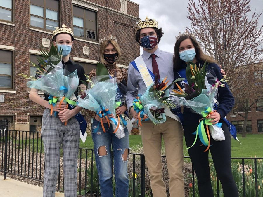 West's Homecoming king and queen Max DeCicco and Ashley Wachter pose with East Homecoming queen and king Alexis Friedle and Ryan Barrett outside of East Campus on April 19 following coronation.