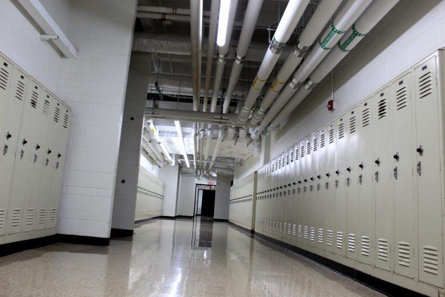The first floor hallway alongside the Autos classroom, known as